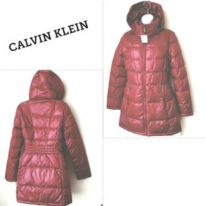 {Calvin Klein} Jacket Down 3/4 Hooded Deep Red
